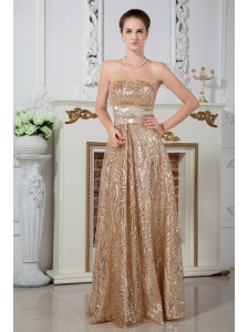 Champagne Empire Strapless Prom Dress Sequin Beading Floor-length