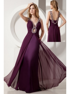 Dark Purple Prom Dress Column V-neck Floor-length Elastic Woven Satin and Chiffon Beading
