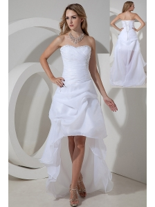Elegant White Strapless High-low Prom Dress Organza Bow and Beading