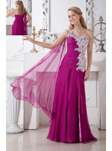 Fuchsia Empire One Shoulder Appliques Prom DressFloor-length Chiffon and Elastic Woven Satin