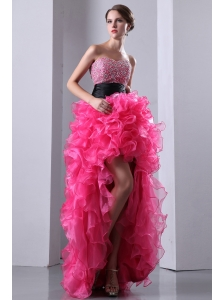 Hot Pink A-line Sweetheart Prom Dress High-low Organza Beading