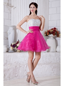 Hot Pink A-line Sweetheart Short Prom / Homecoming Dress Organza Beading Mini-length