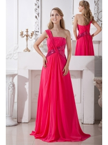 Coral Red Empire One Shoulder Sequins Prom Dress Brush Train Chiffon