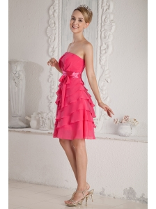 Hot Pink Empire Strapless Ruch and Sash Prom Dress Mini-length Chiffon