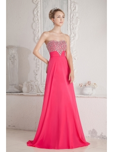 Coral Red Empire Sweetheart Beading Prom Dress Floor-length Chiffon
