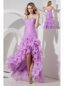 Lavender Column / Sheath One Shoulder Prom Dress High-low Organza Beading