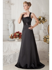 Modest Black A-line Straps Beading Prom Dress Brush Train Satin