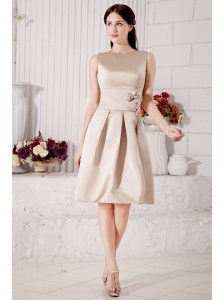 Modest Champagne Bateau Knee-length  Prom / Homecoming Dress  Satin Hand Made Flowers A-line