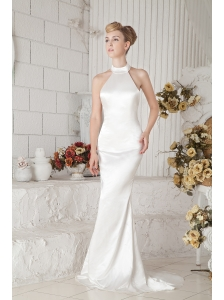 Modest Halter Top Prom Dress Brush Train Column