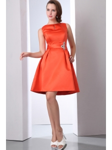 Modest Orange Red Bateau Beading Prom Dress Mini-length Taffeta