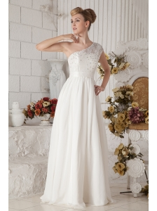 Modest White One Shoulder Chiffon Prom Dress with Beading