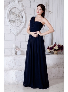 Navy Blue Empire One Shoulder Beading Prom / Evening Dress Brush Train Chiffon