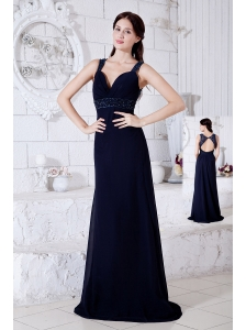 Navy Blue Empire Straps Prom / Evening Dress Brush Train Chiffon Beading