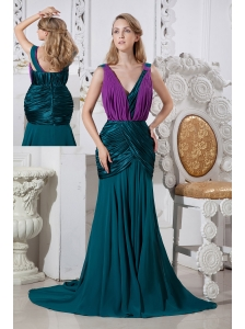 Unique Mermaid Prom Dress V-neck Brush Train Chiffon