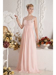 Baby Pink Empire Straps Beading and Ruch Prom Dress Brush Train Chiffon