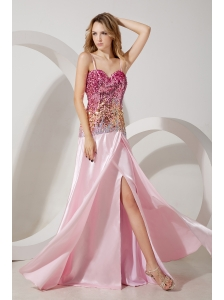 Baby Pink Empire Straps Brush Train Stretch Charmeuse and Sequin Prom / Evening Dress