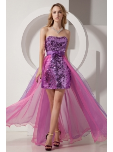 Purple and Pink Column Strapless Prom Dress High-low Sequin and Chiffon