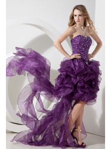 Purple High-low Organza Beading Prom Dress Column / Sheath Sweetheart