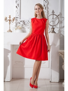 Red A-line Scoop Prom Dress Knee-length Taffeta