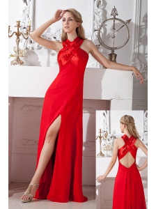 Red Empire High Neck  Prom Dress Floor-length Chiffon