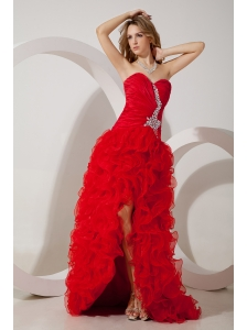 Red Column Sweetheart High-Low Organza Beading Prom / Evening Dress