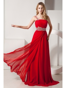 Red Empire Beading Prom Dress One Shoulder Brush Train Chiffon