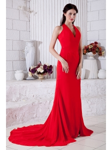 Red Empire Halter Prom / Evening Dress Brush Train Chiffon