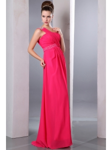 Hot Pink Empire One Shoulder Beading Prom Dress Floor-length Chiffon
