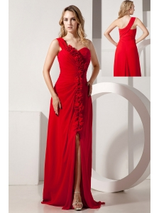 Red Empire One Shoulder Hand Made Flowers Prom / Evening Dress Brush Train Chiffon
