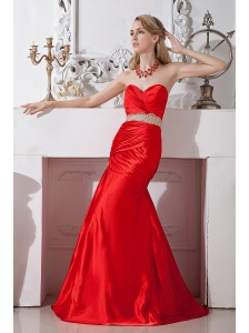 Red Mermaid Sweetheart Beading Prom Dress Floor-length Taffeta