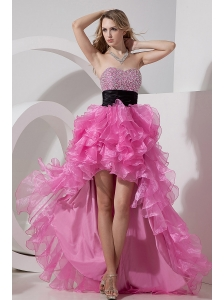 Rose Pink A-line / Princess Prom Dress Sweetheart High-low Organza Beading