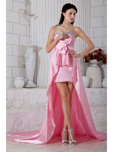 Rose Pink Empire Beading Sweetheart Prom / Evening Dress High-low Taffeta