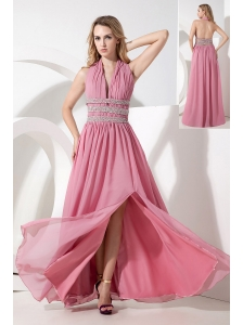 Rose Pink Empire Halter Prom Dress Chiffon Beading Floor-length