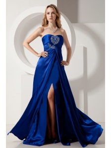Royal Blue Column Strapless Prom Dress Elastic Woven Satin Beading Brush Train
