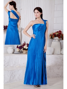Royal Blue Junior Prom / Homecoming Dress Empire One Shoulder Pleat Ankle-length Taffeta