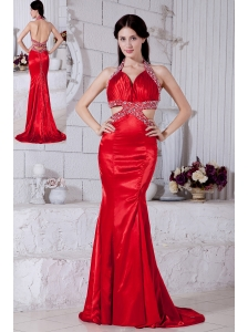 Sexy Red Mermaid Prom / Evening Dress Halter Brush Train Taffeta Beading