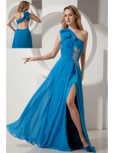 Sexy Sky Blue One Shoulder Backless Prom / Evening Dress On Sale