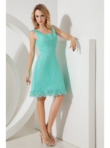 Turquoise A-line / Princess Square Prom / Homecoming Dress Mini-length Lace