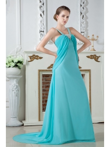 Turquoise Empire Straps Ruch and Beading Prom Dress Brush Train Chiffon