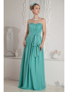 Turquoise Empire Sweetheart Ruch and Sash Prom Dress Floor-length Chiffon
