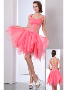 Watermelon Prom Dress A-line Straps Asymmetrical Organza Beading