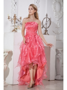 Watermelon Red A-line Strapless High-low Prom / Homecoming Dress Elastic Woven Satin and Organza Ruffles and Beading