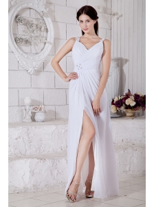 White Empire Straps Beading Prom / Evening Dress Floor-length Chiffon