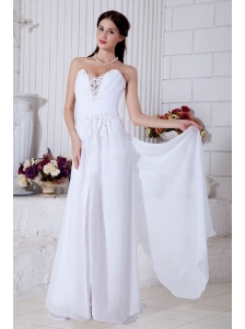 White Empire Sweetheart Appliques Prom / Evening Dress Brush Train Chiffon