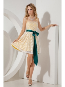 Yellow Junior Prom / Homecoming Dress A-line / Princess Strapless Mini-length Lace Sashes