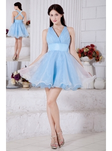Aqua Blue Princess V-neck Short Prom / Homecoming Dress Organza Pleat Mini-length