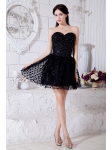 Black A-line / Princess Sweetheart Short Prom / Homecoming Dress Special Fabric Beading Mini-length