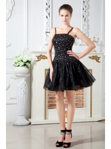 Black A-line Straps  Short Prom Dress Organza Beading Mini-length