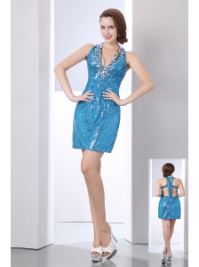 Baby Blue Column V-neck Short Prom Dress Sequin Sequins Mini-length