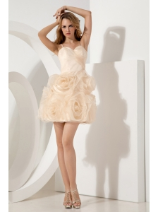 Champagne A-line / Princess Straps Short  Prom / Homecoming Dress Mini-length Organza